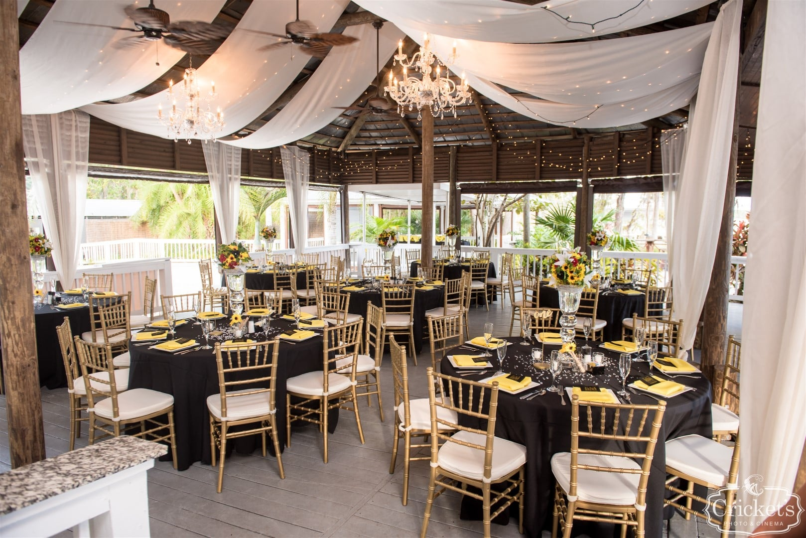 elegant black and yellow reception at Paradise Cove