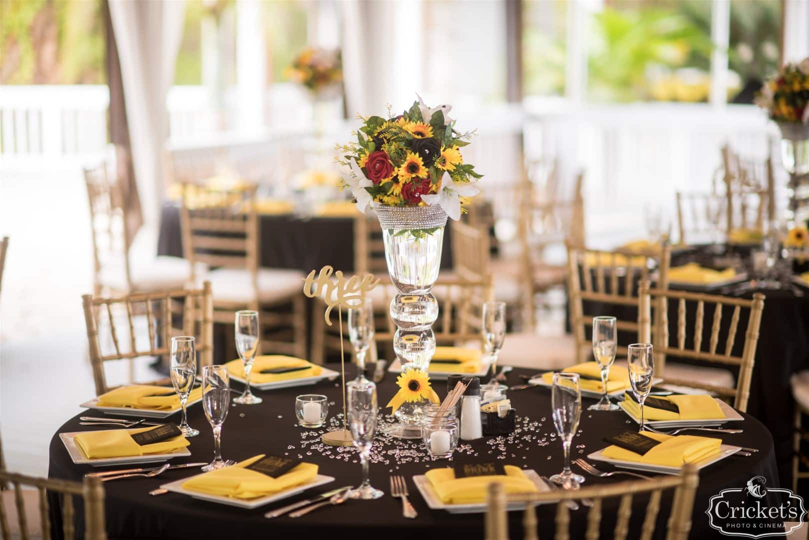 black and yellow centerpieces