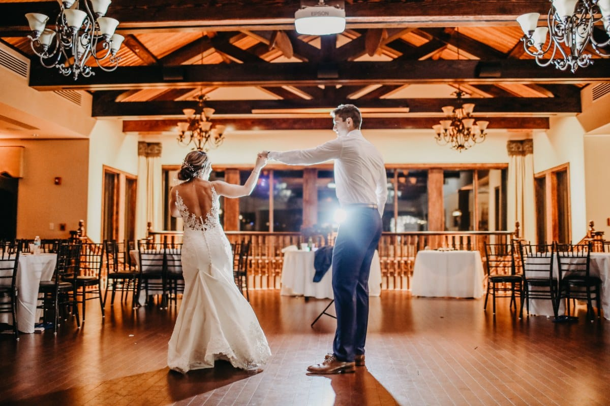 bride and groom's first dance at Tavares Pavilion on the Lake