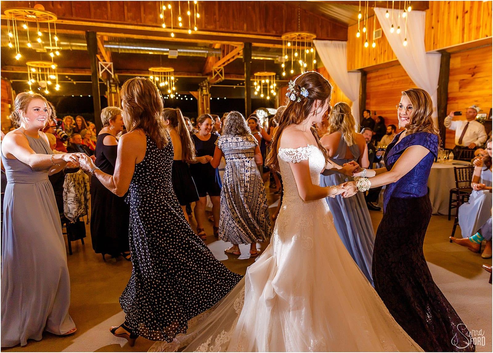 bride and guests on dance floor