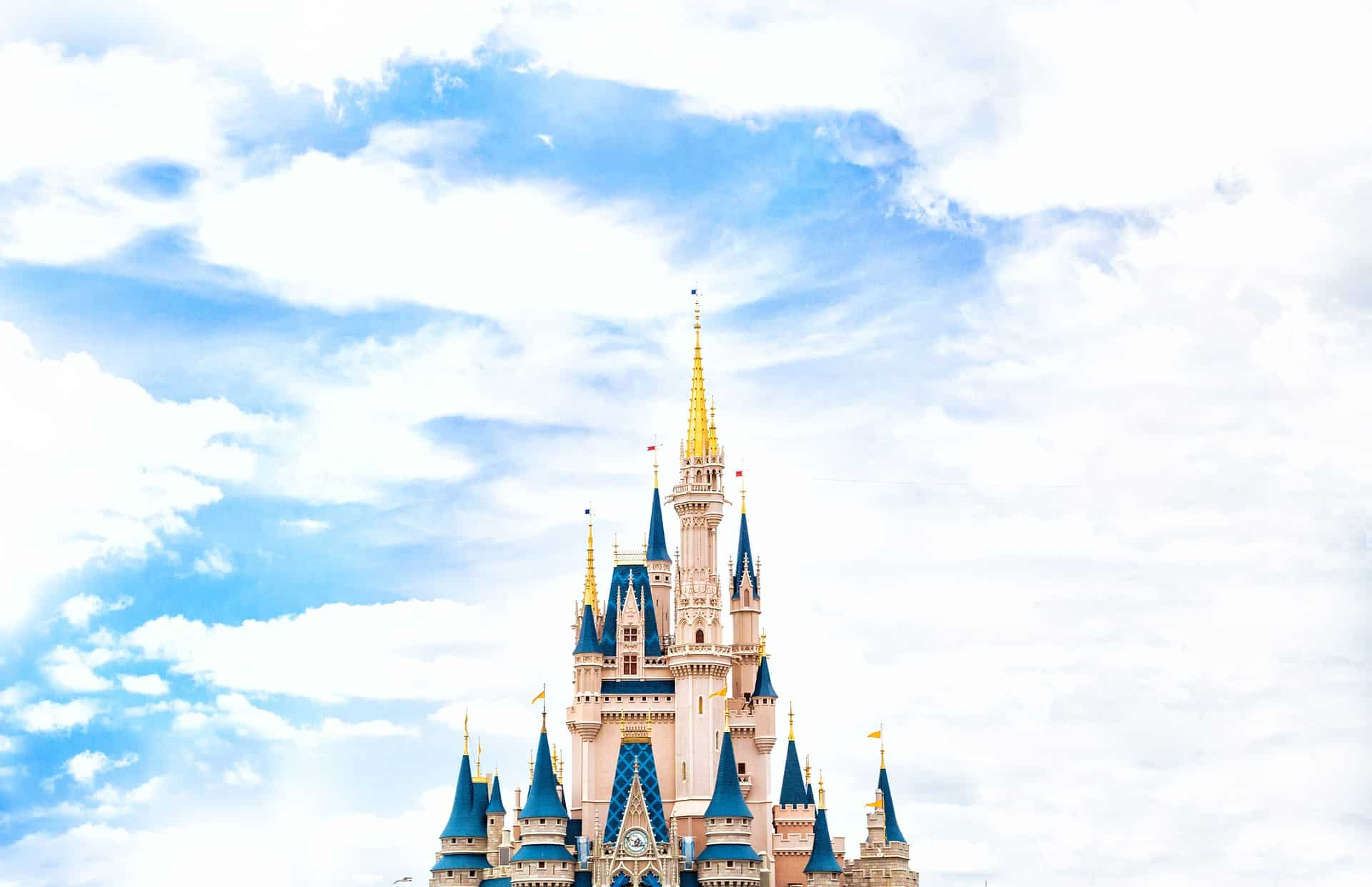 Cinderella castle at Walt Disney World against beautiful cloudy sky