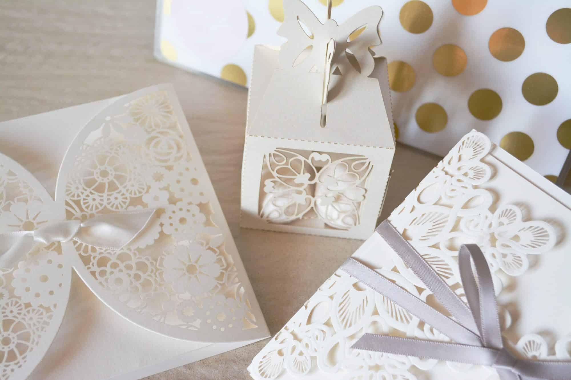 white filigree wedding invitation
